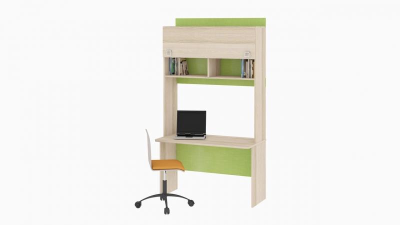 - Детский письменный стол с надстройкой «Киви» №6 (Ясень Коимбра)