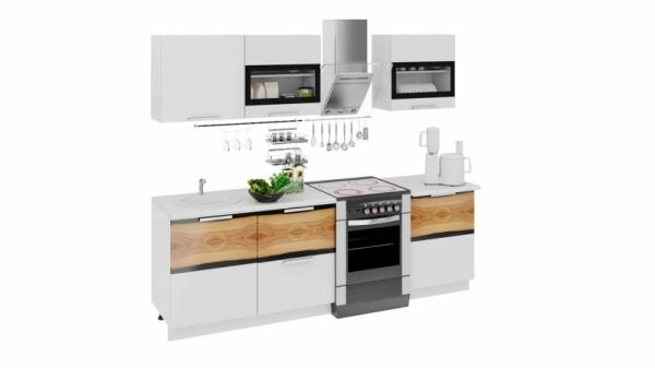 Кухонный гарнитур длиной - 240 см (ФЭНТЕЗИ (Белый универс.)/(Вуд))