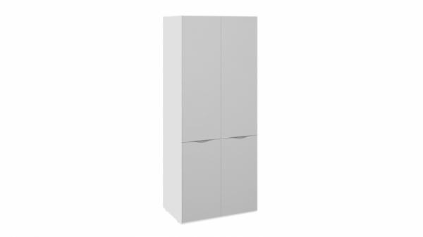 Шкаф для одежды с 2 зеркальными дверями «Глосс» (Белый глянец)
