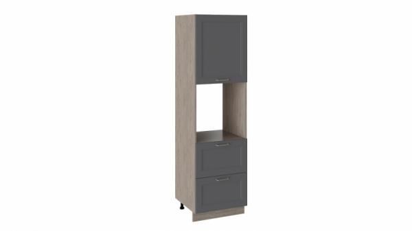 Шкаф пенал под бытовую технику с 2-мя ящиками ПБ2я_204-60_2Я1ДР (ОДРИ (Серый шелк))