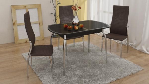 Стол обеденный раздвижной с хромированными ножками «Ницца» (Венге/Кожа коричневая/Стекло с рисунком коричневое)