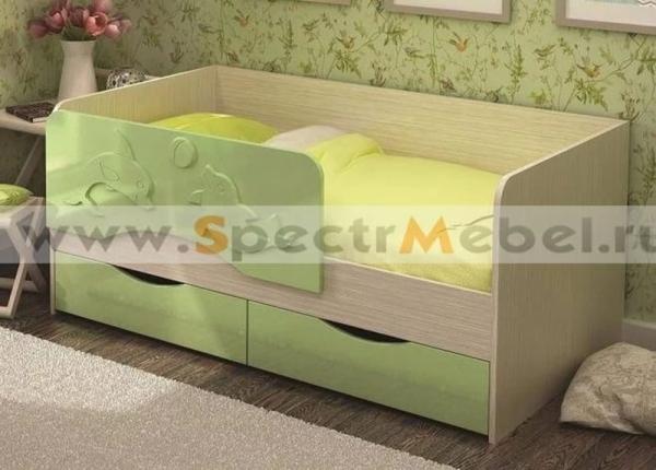 Кровать детская Алиса 80х180 зеленый металлик