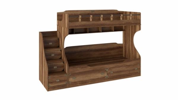 Кровать двухъярусная с приставной лестницей «Навигатор» (Дуб Каньон)
