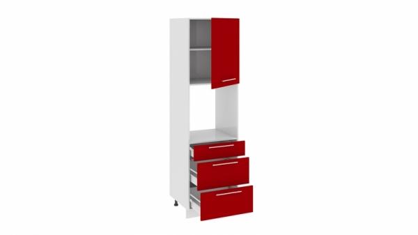 Шкаф пенал под бытовую технику с 3-мя ящиками ПБ(3)3я_204-60_3Я1ДР Красная
