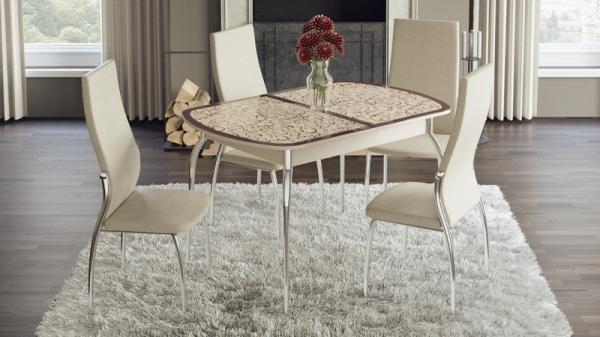 Стол обеденный раздвижной «Сидней» (Дуб Белфорт, стекло с рисунком)