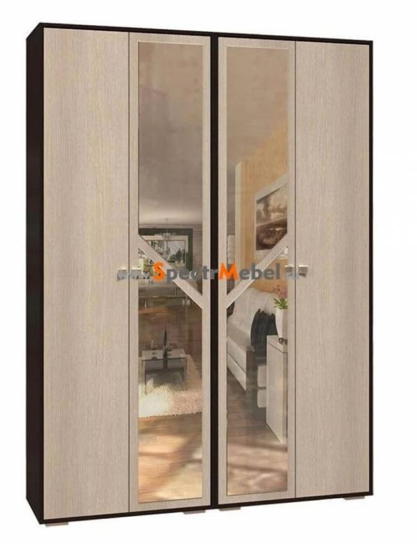 Шкаф четырехстворчатый узкий с зеркалом