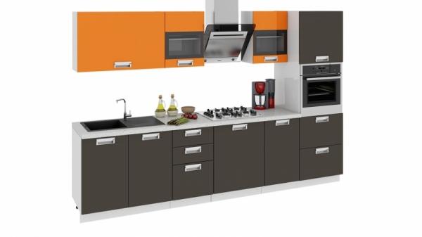 Кухонный гарнитур длиной - 300 см (с пеналом ПБ) (БЬЮТИ (Оранж)/(Грэй))