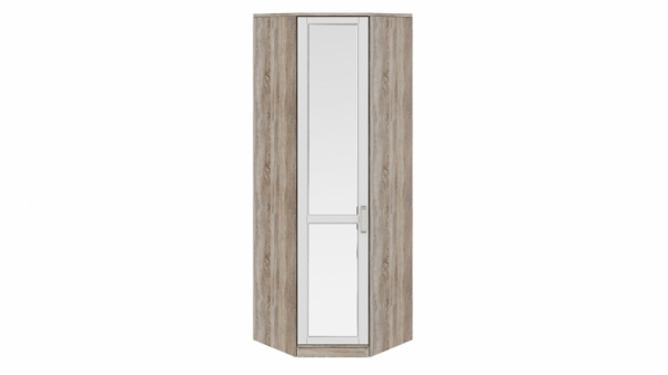 Шкаф угловой с 1-ой зеркальной дверью левый «Прованс» (Дуб Сонома трюфель/Крем)
