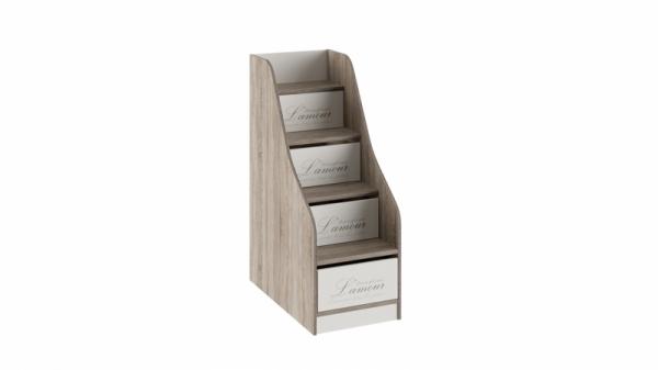 Лестница приставная с ящиками «Брауни» (Фон бежевый с рисунком/Дуб Сонома трюфель)