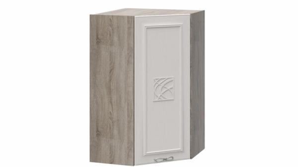Шкаф навесной угловой c углом 45° с декором ВУ45_96-(40)_1ДР(Д) Серо-бежевая 96 см