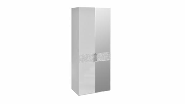 Шкаф для одежды с 1-й глухой и 1-й зеркальной дверями «Амели» (Белый глянец)