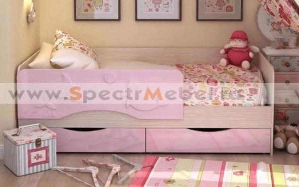Кровать детская Алиса 80х160 розовый металлик