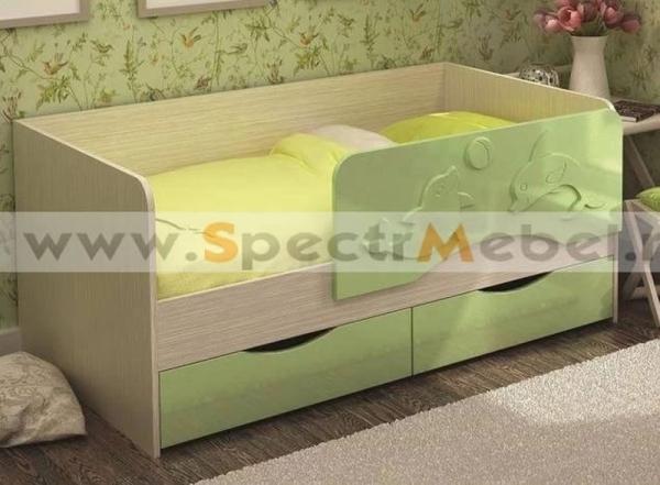 Кровать детская Алиса 80х160 зеленый металлик