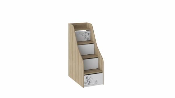 Лестница приставная с ящиками «Оксфорд» (Ривьера/Белый с рисунком)