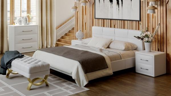 Кровать «Элис» c мягкой обивкой тип 1 (Белая)