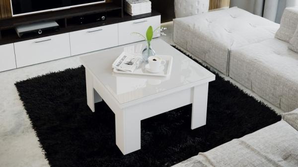 Стол журнальный (трансформер) «Glance» тип 1 (Белый/Стекло белый глянец)