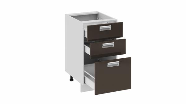 Шкаф напольный с 3-мя ящиками Н3я_72-45_3Я (БЬЮТИ (Грэй))