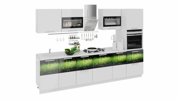 Кухонный гарнитур длиной - 300 см (с пеналом ПБ) (ФЭНТЕЗИ (Белый универс.)/(Грасс))