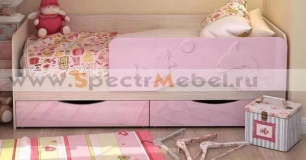 Кровать детская Алиса 80х180 розовый металлик