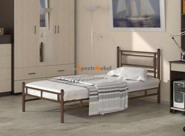 Кровать металлическая Мелина 900х900х2000 венге