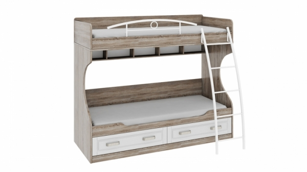 Кровать двухъярусная с металлической лестницей «Прованс» (Дуб Сонома трюфель/Крем)