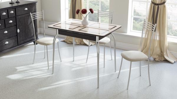 Стол обеденный раздвижной «Рим» (Венге, стекло бежевое с рисунком)