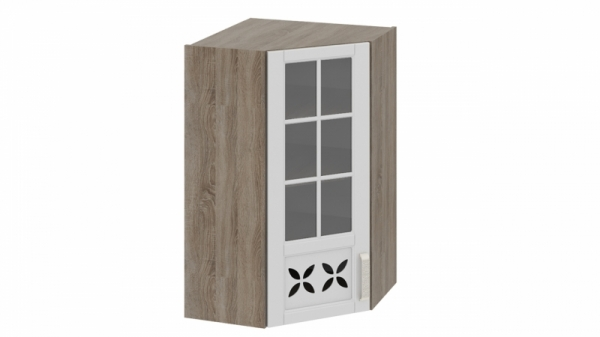 Шкаф навесной угловой c углом 45 со стеклом и декором ВУ45_96-(40)_1ДРДс(L) Молочная 96 см
