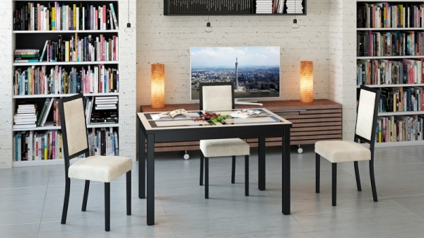 Обеденный раздвижной стол со стеклом «Диез Т11» (Венге/дуб миланский стекло с рисунком)