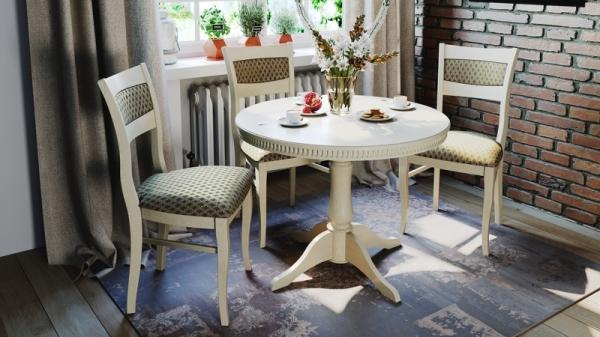 Обеденная группа: стол «Орландо Т1», стулья «Орлеан» (Слоновая кость/тк. №49)