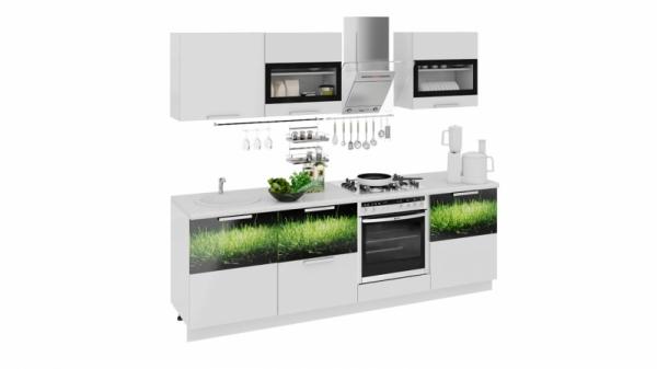 Кухонный гарнитур длиной - 240 см (со шкафом НБ) (ФЭНТЕЗИ (Белый универс.)/(Грасс))