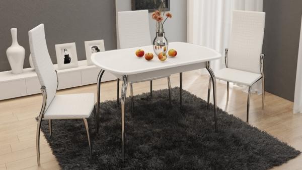 Стол обеденный раздвижной с хромированными ножками «Ницца» (Белый/Кожа белая/Стекло с рисунком белое)