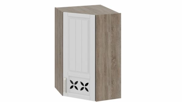 Шкаф навесной угловой c углом 45 с декором ВУ45_96-(40)_1ДРД(R) Молочная 96 см