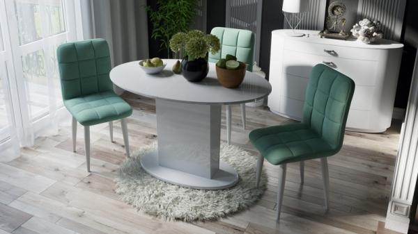 Стол обеденный со стеклом «Марсель» (Белое/Стекло белое глянец)