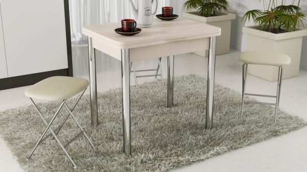 Стол обеденный с хромированными ножками «Лион» (Дуб Белфорт)