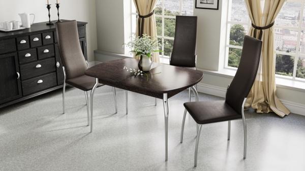 Стол обеденный с хромированными ножками «Рио» (Венге)
