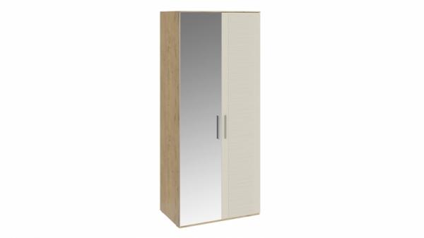 Шкаф для одежды с 1 глухой и 1 зеркальной дверями «Николь» (Бунратти/Фон Бежевый)