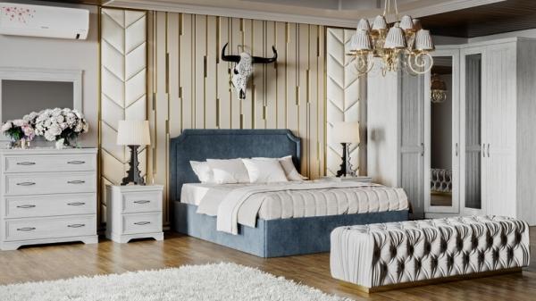 Спальный гарнитур «Кантри» №2 (Замша синяя/Винтерберг)