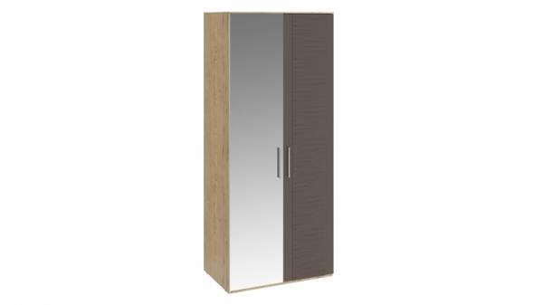 Шкаф для одежды с 1 глухой и 1 зеркальной дверями «Николь» (Бунратти/Фон Коричневый)
