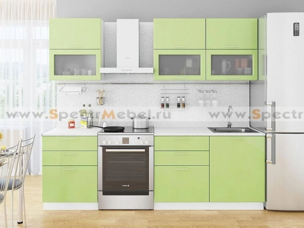 Кухонный гарнитур салатовый глянец