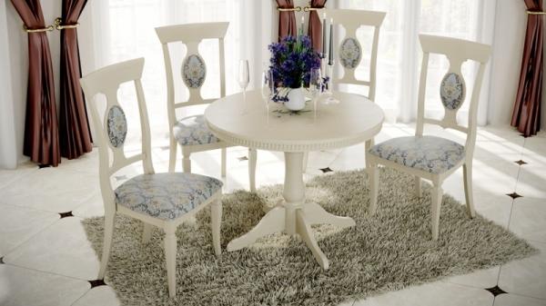 Обеденная группа: стол Орландо Т1 стулья Денвер Тип 1 (Слоновая кость/тк. №41 Бирюзовая)