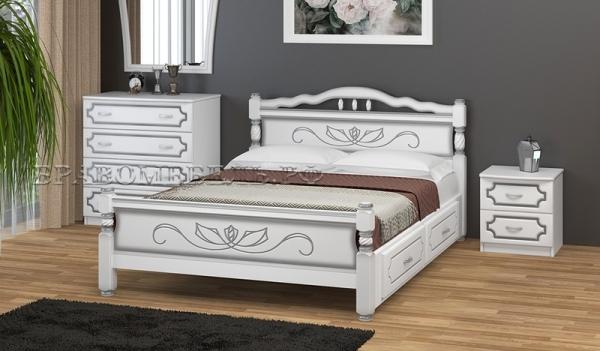"""Кровать """"Карина 5"""" белый жемчуг, с ящиками"""