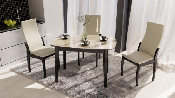 Обеденная группа: стол «Портофино», стулья «Бруклин Тип 1» (Венге/Бежевый к/з 276)
