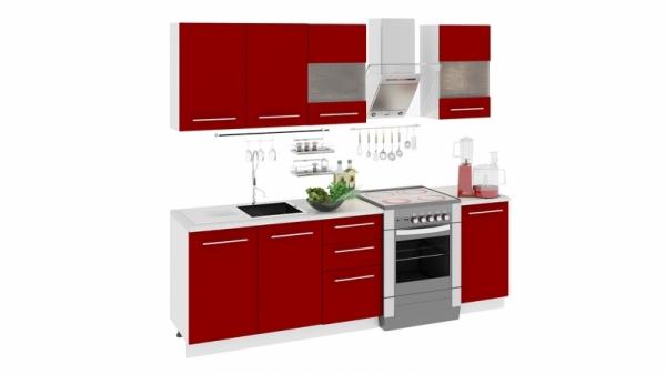 Кухонный гарнитур длиной - 240 см (АССОРТИ (Вишня))
