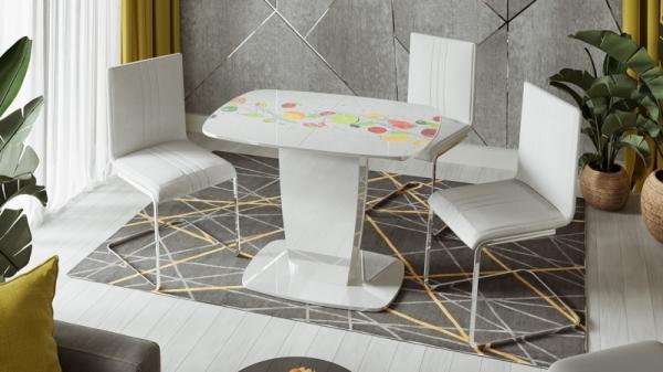 Стол раздвижной «Аризона» Тип 2 (Белый глянец с рисунком (Фрукты))