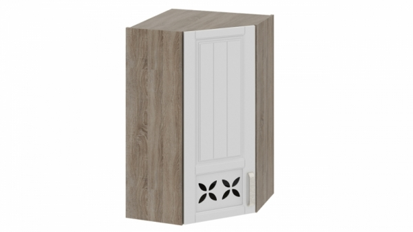Шкаф навесной угловой c углом 45 с декором ВУ45_96-(40)_1ДРД(L) Молочная 96 см