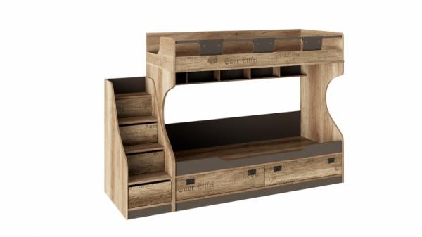 Кровать двухъярусная с приставной лестницей «Пилигрим» (Дуб Каньон светлый, Фон серый)