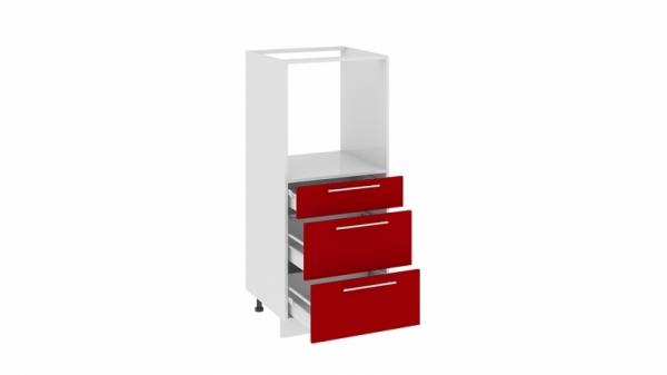 Шкаф комбинированный под бытовую технику с 3-мя ящиками КБ(3)3я_132(72)-60_3Я Красная
