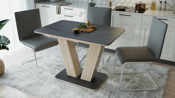 Стол раздвижной «Чинзано» Тип 1 (Дуб сонома светлая/стекло серое матовое)