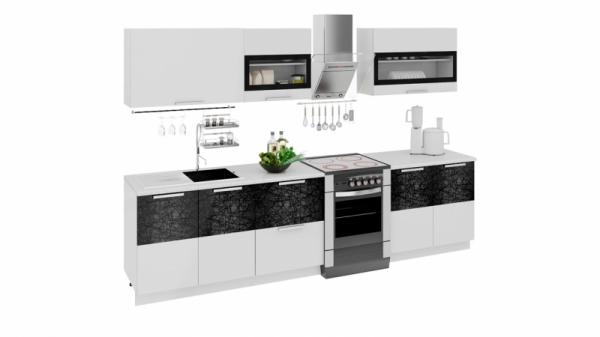 Кухонный гарнитур длиной - 300 см (ФЭНТЕЗИ (Белый универс.)/(Лайнс))