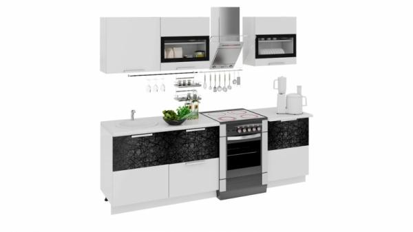 Кухонный гарнитур длиной - 240 см (ФЭНТЕЗИ (Белый универс.)/(Лайнс))